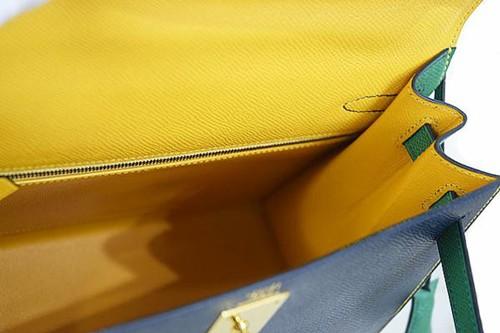 エルメス ケリー 28cm 外縫い クシュベル 紺×緑×黄 3色 トリコロール ゴールド金具 〇X刻印 本物 未使用!