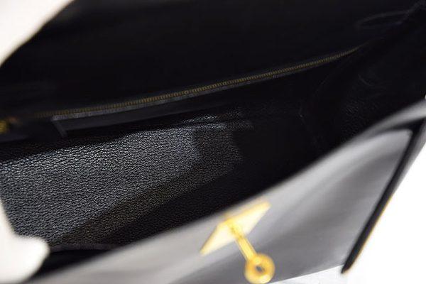 エルメス ケリー32 黒 ボックスカーフ