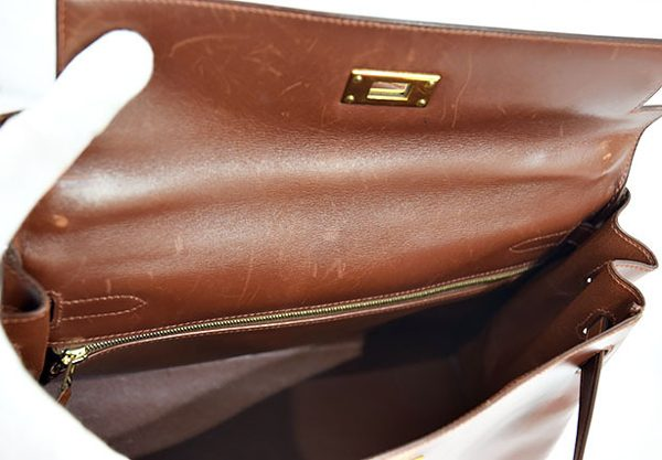 エルメス ボックスカーフ32 茶×ゴールド金具