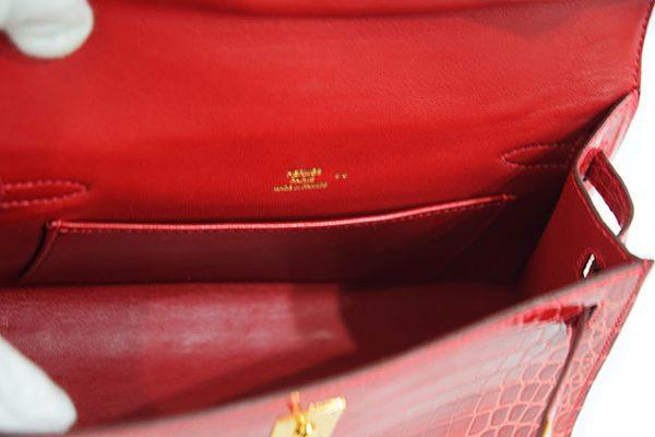 エルメス ポシェットケリー クロコダイル 赤色