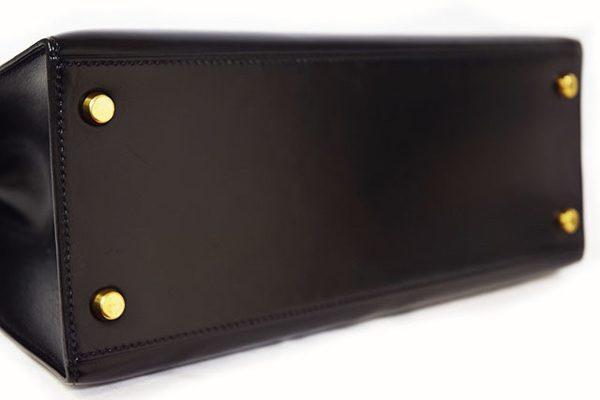エルメス ケリー28 黒 ボックスカーフ ヴィンテージ