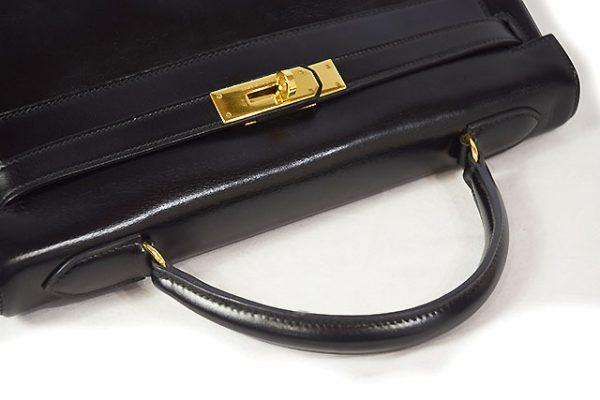 エルメス ケリー32 内縫い ボックスカーフ 黒