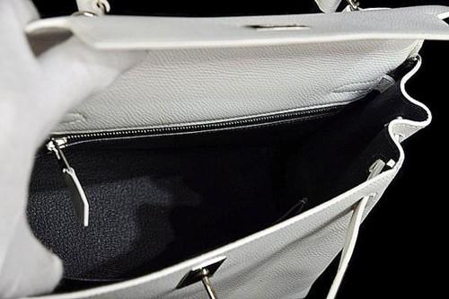エルメス ケリー25cm 白×グラファイト ヴォーエプソン