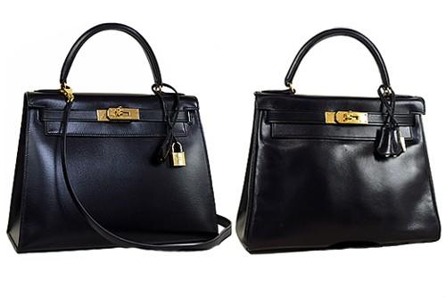 エルメス ケリー ボックスカーフ 黒 外縫い 内縫い ゴールド金具